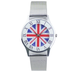 Union Jack Face Roman Numerals Semi-steel Quartz Watch