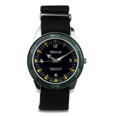 Weros Black Dial Nylon Strap Quartz Watch
