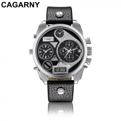 CAGARNY 6822 Original Men's Sports Leather Strap Quartz Date Wrist Watch