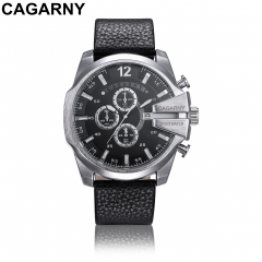 CAGARNY 6839 Original Men's Sports Leather Strap Quartz Date Wrist Watch