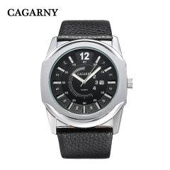 CAGARNY 6838-2 Original Men's Sports Leather Strap Quartz Date Wrist Watch