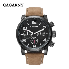 CAGARNY 6829 Original Men's Sports Leather Strap Quartz Date Wrist Watch