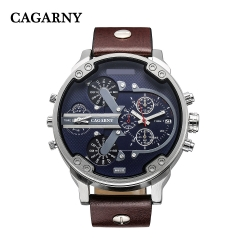 CAGARNY 6820 Original Men's Sports Leather Strap Quartz Date Wrist Watch