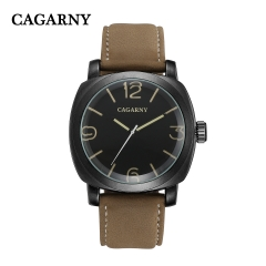 CAGARNY 6833 Original Men's Sports Leather Strap Quartz Date Wrist Watch