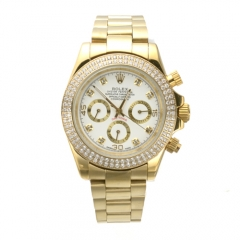 Gold Toned Stainless Steel Bracelet Crystal Studded Bezel White Dial Daytona Automatic Watch