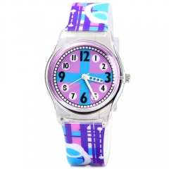 Christmas Gift Quartz Watch Round Dial Rubber Watch Band for Children