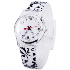 Ladies Quartz Watch Flower Pattern Round Dial Rubber Strap