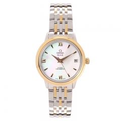 Double Toned Bracelet Polished Stainless Steel Case Yellow Gold Bezel Shell Dial De Ville Japanese Automatic Watch